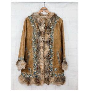 VTG 70's Suede Fur Embroidered Coat Tan M 6-8